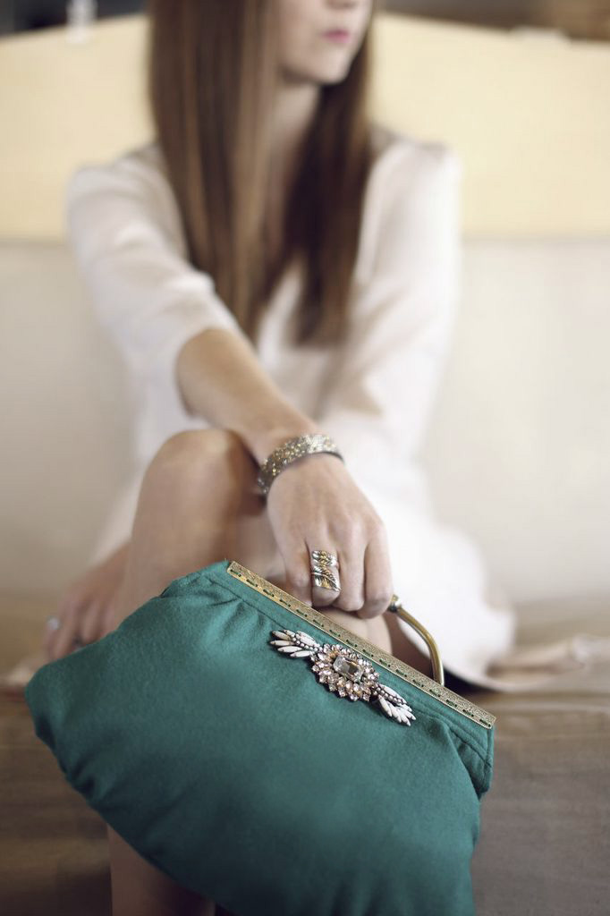 green clutch with dress
